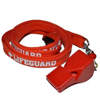 CLASSIC  RED  WHISTLE + TUBE LIFEGUARD WHITE PRINTED  NECK LANYARD